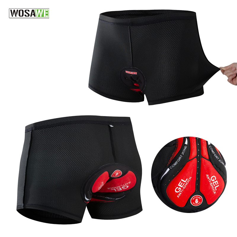 WOSAWE Men's Cycling Underwear Bicycle Mountain MTB Shorts Riding Bike Sport Underwear Compression Tights Shorts GEL Padded