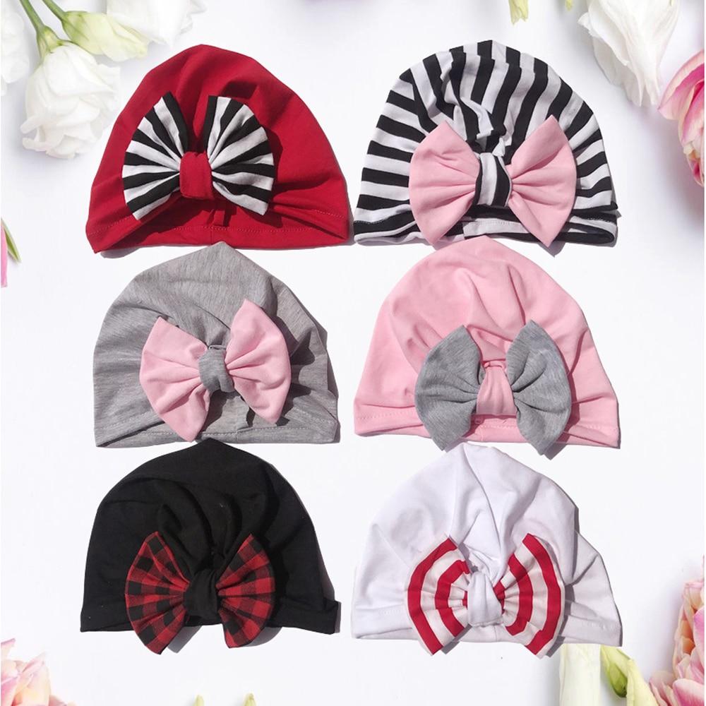 2020 Brand New Newborn Baby Kids Boys And Girls Soft Turban Cap  Multicolour Bow Knot Wrap Hats Milk Fiber Beanis Baby Gifts