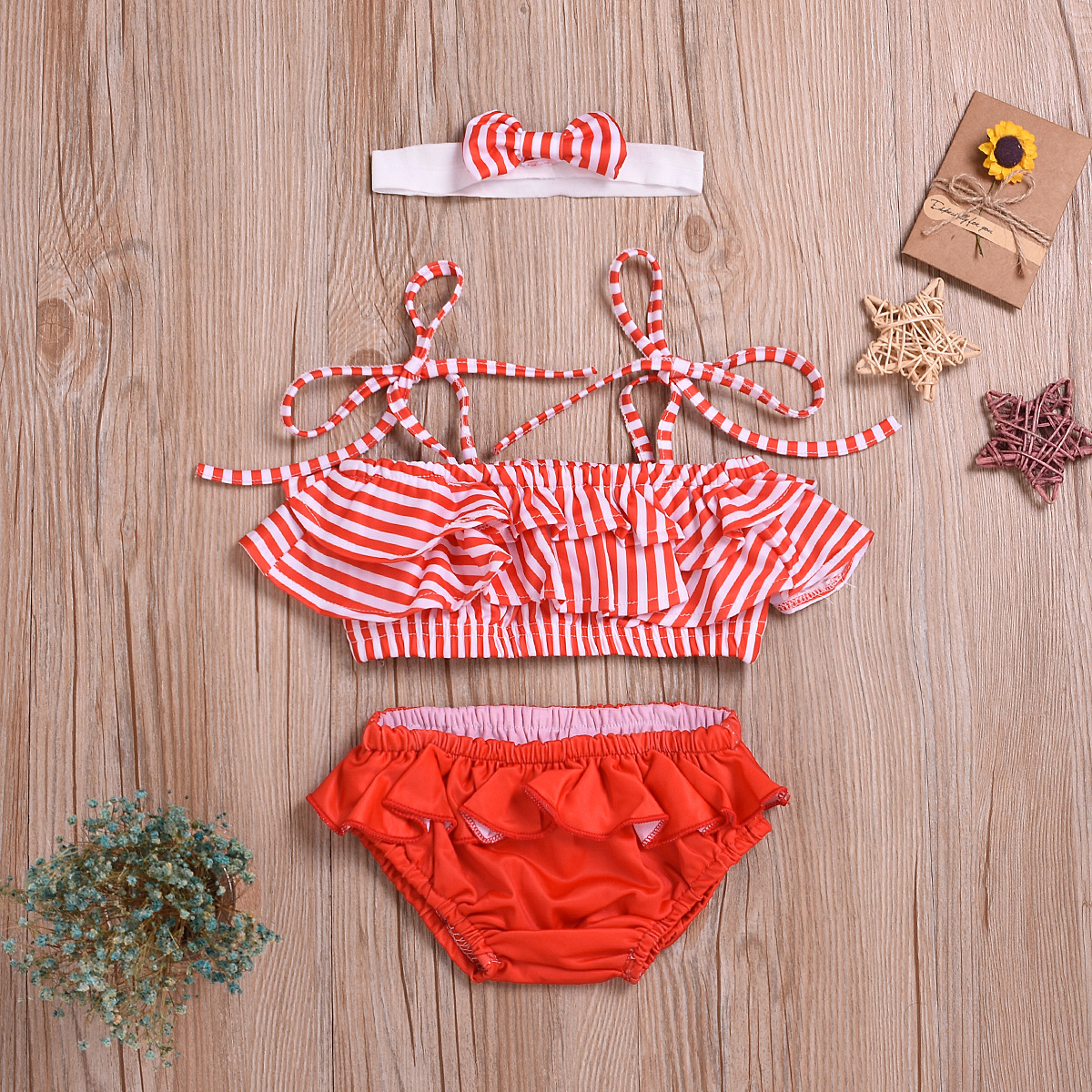 Childrenswear Summer Girls New Style Bathing Suit Stripes Swimsuit With Shoulder Straps Children Two-piece Swimsuits Three-piece