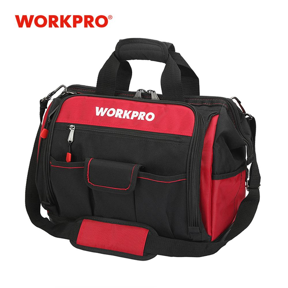 WORKPRO 16 Open Top Tool Storage Bag Multifunctional Heavy Duty Tool Bag Men Crossbody Bag for Tools image