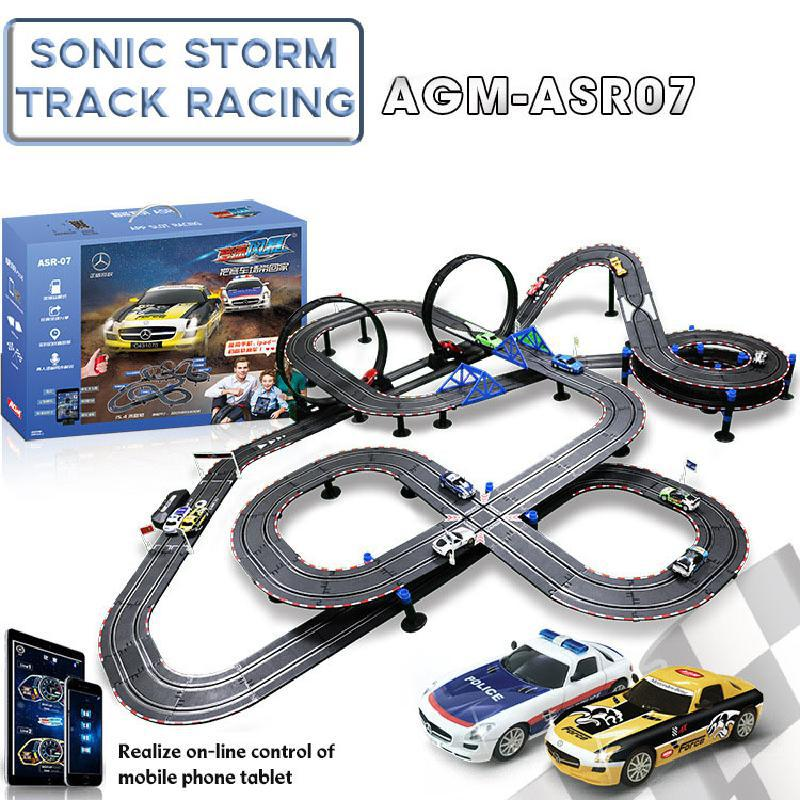 1:43 Electric Railway Circuit Car Toy Profissional Autorama Circuit Voiture Slot Car Bluetooth Control Double Racing Track Toys