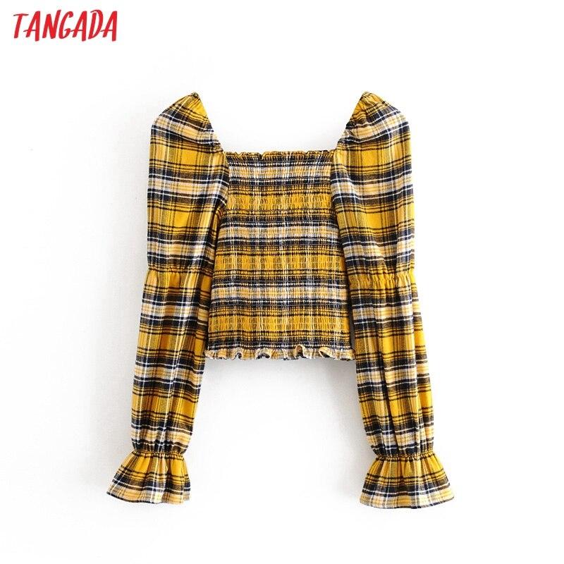 Tangada Women Yellow Plaid Print Pleated Crop Blouse Shirts Long Sleeve 2020 Sexy Shirt Vintage Tops 3H308