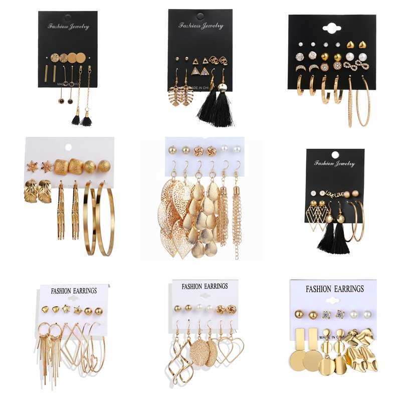 ZOVLI Bohemian Vintage Gold Tassel Leaf Stud Earrings Set For Women 2020 Statement Big Long Chain Unique Earings Fashion Jewelry image