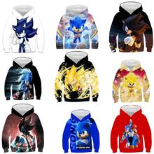 Silver Basic Boys Nouvelty Hoodies Sonic Printed Two Pieces Tracksuit