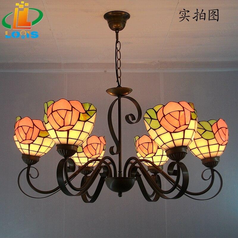 European style 6 head garden rose iron art upward big chandelier Tiffany modern living room bedroom glass personalized lighting