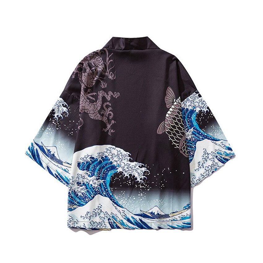 The Great Wave Off Kanagawa Woman Loose Thin Summer Japanese Haori Cardigan Harajuku Ukiyo-e Coat For Man Beach Wear