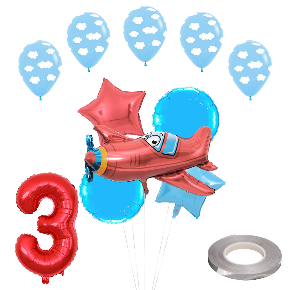 12pcs/lot Airplane Foil Helium Balloons 30 Red Number Party Inflatable Ball Birthday Party Decoration Kids Toys Star Globos image