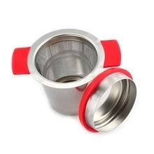 Силиконовый ситечко для чая из нержавеющей стали с двойной ручкой и отверстием, тонкий жидкий сепаратор, ситечко для чая, заварки чая