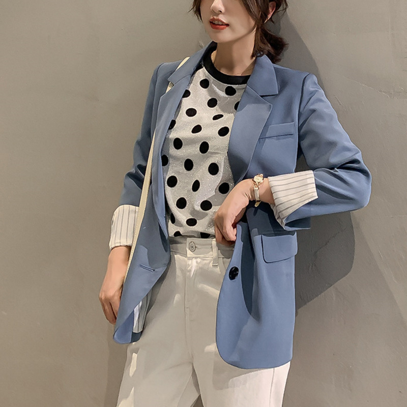 2020 Spring Blue Blazer Women Korean Style Casual Blazer Elegant Single Breasted Official Ladies Jacket