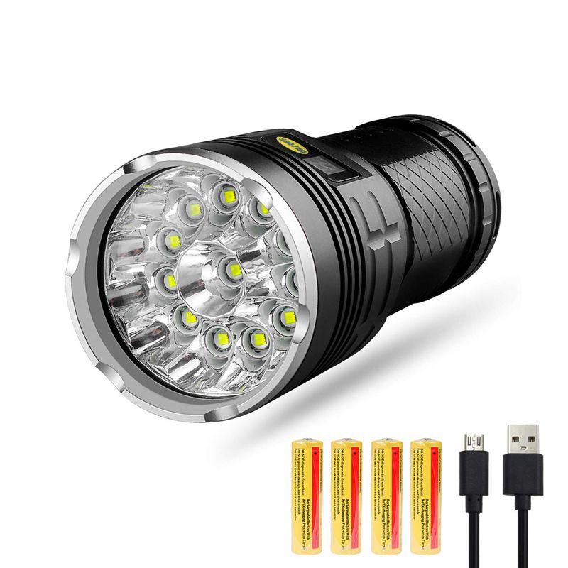 Led Flashlight 10000 Lumens,12xCREE XM-L T6 LED 4 Modes Super Bright Tactical Flashlight, Waterproof Handheld Light With Power