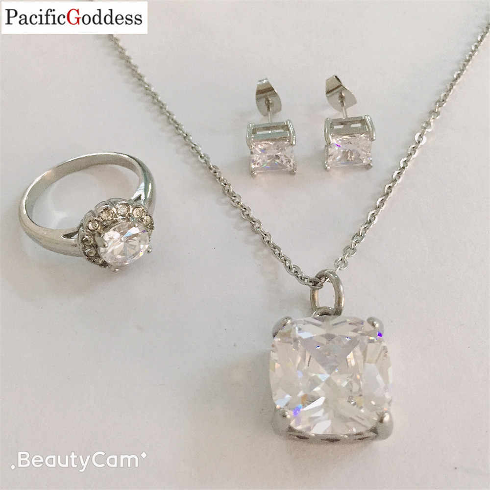 crystal jewelry set stainless steel jewelry set