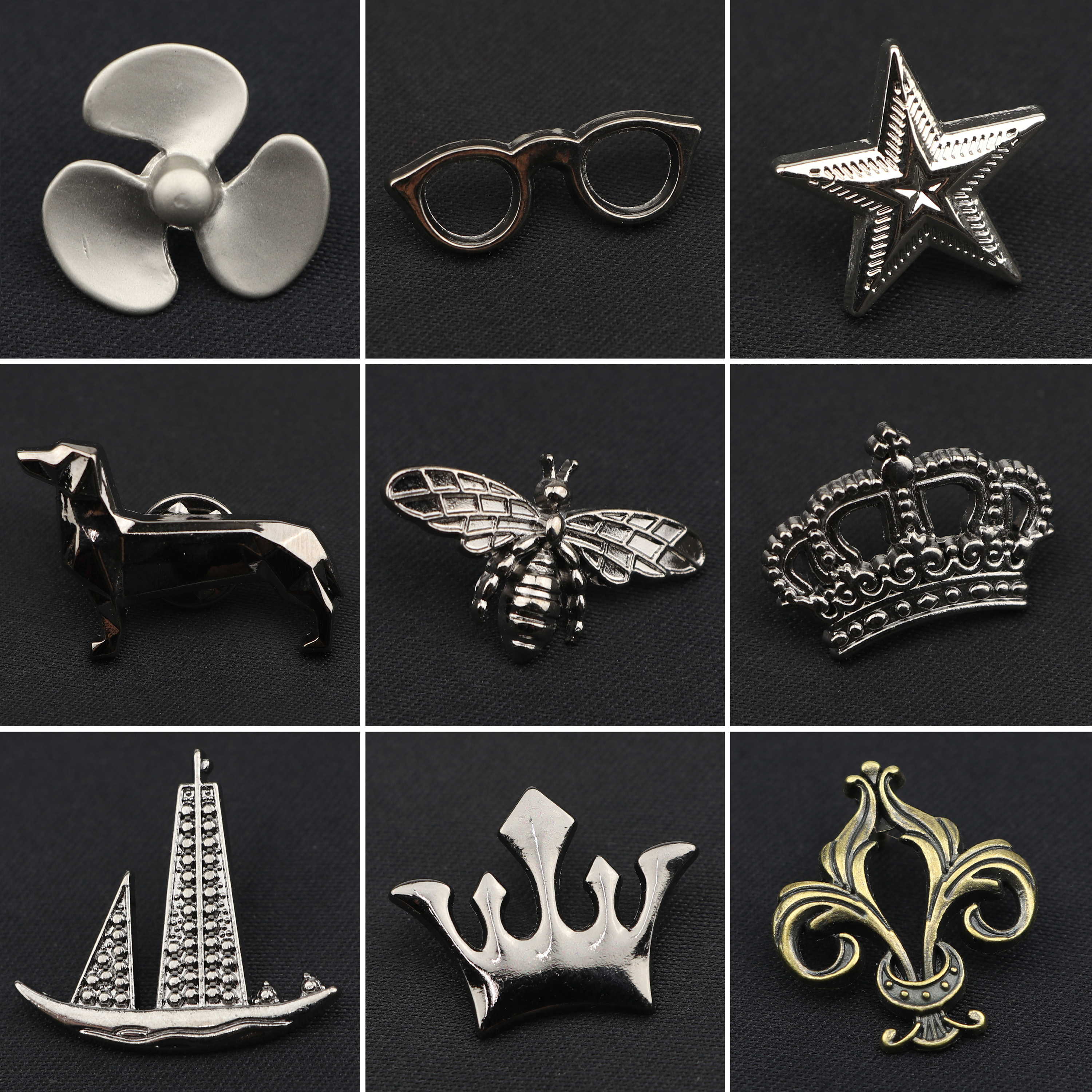 Fashion Men's Mini Brooches Chic Style Guitar Crown Boat Star Bee Advanced Lapel Pin Suit Shirt Collar Shawl Tuxedo Accessory