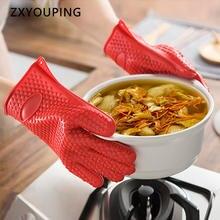 Силиконовые термостойкие кухонные перчатки на приготовление
