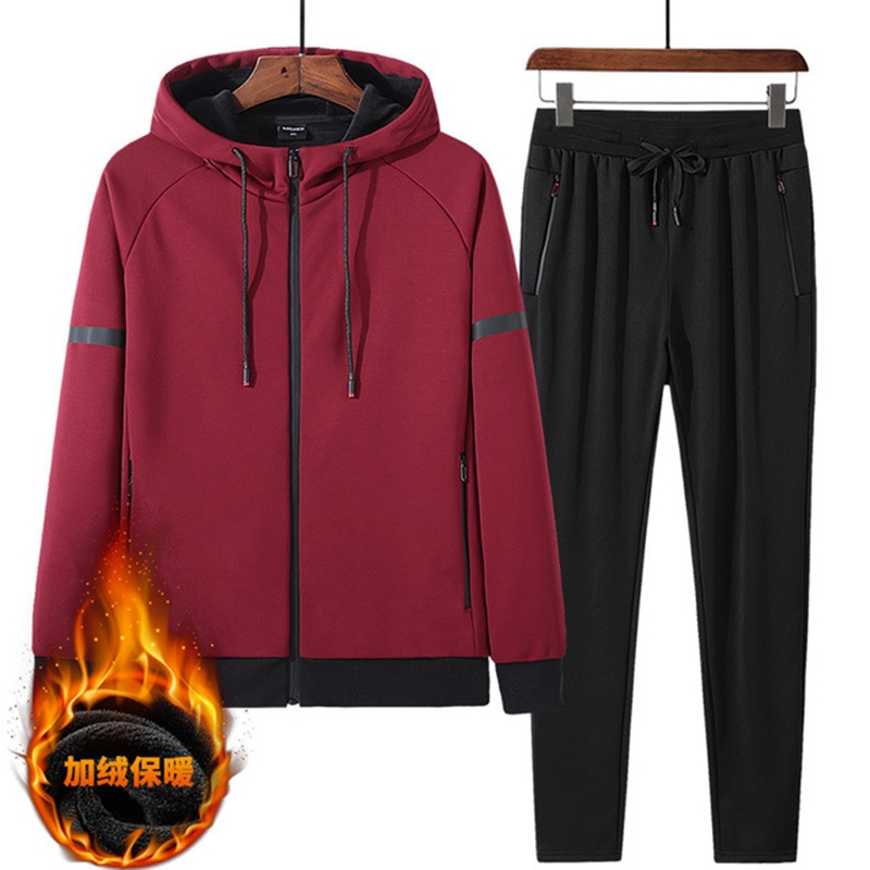 Autumn And Winter Thickening Plus Velvet Sports Suit Men Plus Fertilizer XL Warm Tide Two Sets Of 140 Kg Sweater Wei Pants L-8xL
