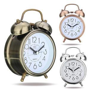 Vintage Alarm Clocks Classic Silent Double Bells Quartz Movement Alarm Clock Bedside Table Retro Clocks Home Decor