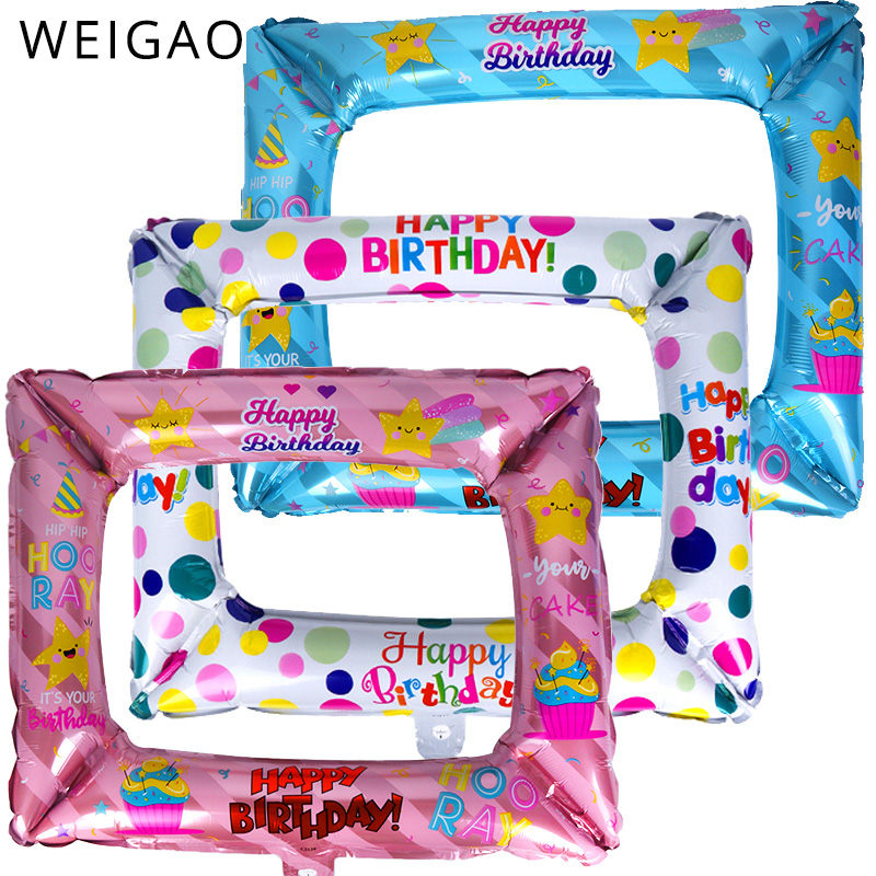 Blue Pink Inflatable Photo Frame Photo Booth Props Selfie Photobooth Props Happy Birthday Decoration Picture Frame Party Decor