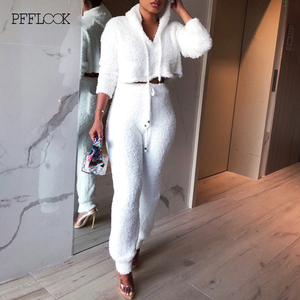 Image 3 - PFFLOOK 2019 Autumun נשים 2 חתיכה סט חורף תלבושות אלגנטי מוצק סוודר סטים תואמים Streetwear מזדמן צמר שתי חתיכה להגדיר