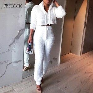 Image 3 - PFFLOOK Conjunto de 2 piezas formado por Jersey y pantalón corto, conjunto de dos piezas, otoño 2019