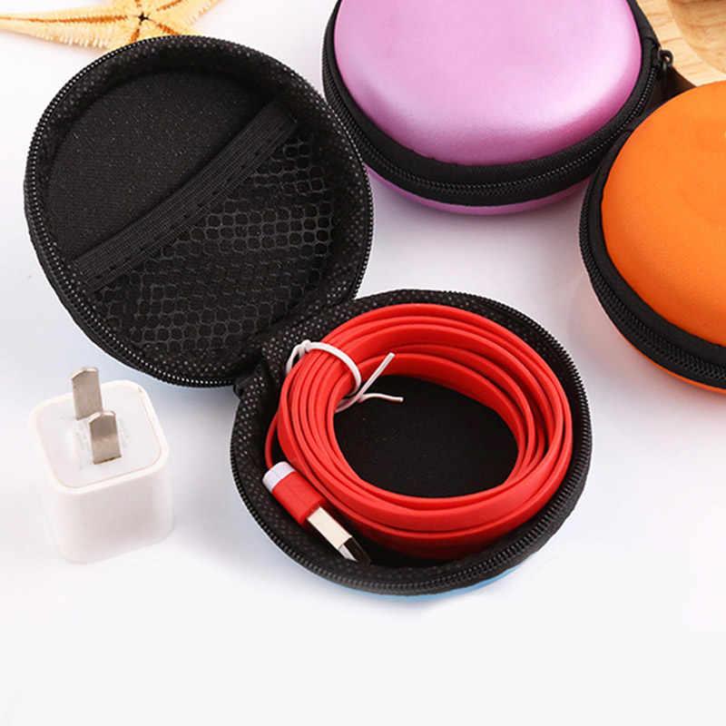 Überfliegen Tragbare Fall für Kopfhörer Fall Mini Reißverschluss Runden Lagerung Schwerer Tasche Headset Box für Kopfhörer Fall SD TF Karten