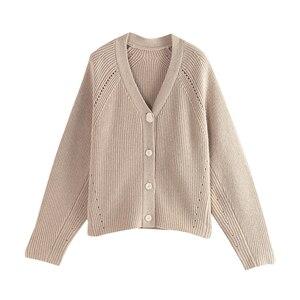 Image 5 - Женский однобортный свитер с V образным вырезом и длинным рукавом