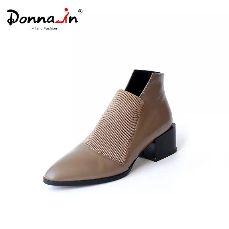 Donna-in Thick Med heels Genuine Leather Women Boots Pointed Toe Elastic  Autumn Winter Shoes With Plush Brown Black Ankle Boots