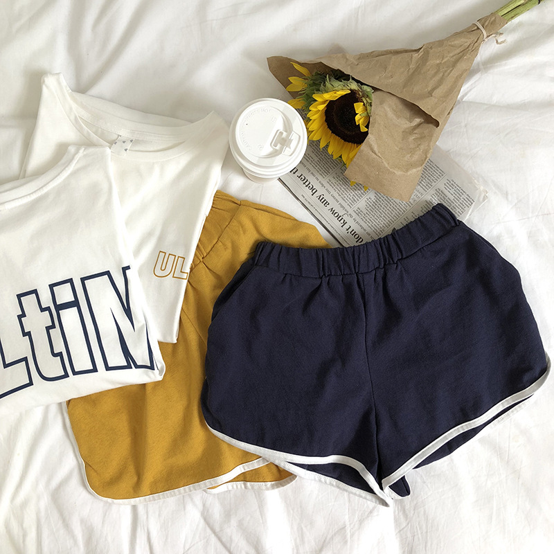 Zz77421 [Yellow Zheng] 2018 Korean-style Lettered Loose Short Sleeve T-shirt + Casual Short Pants Sports Set WOMEN'S Dress