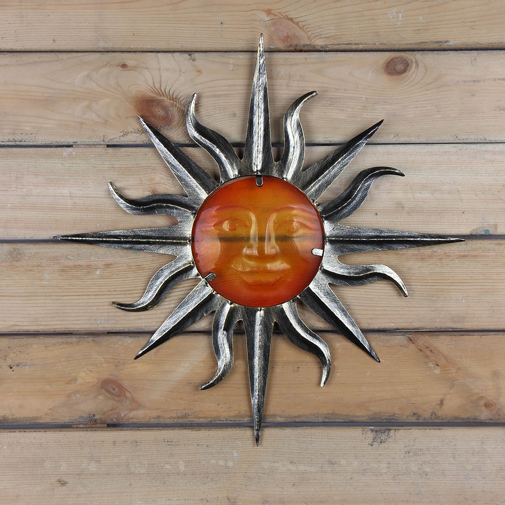 Metal Sun Wall Decoration with Glass for Home and Garden Outdoor Decoration Ornaments and Yard Miniatures Statues 2