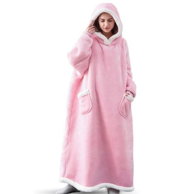 Super Long Flannel Blanket with Sleeves Winter Hoodies Sweatshirt Women Men Pullover Fleece Giant TV Blanket Oversized WF032 6