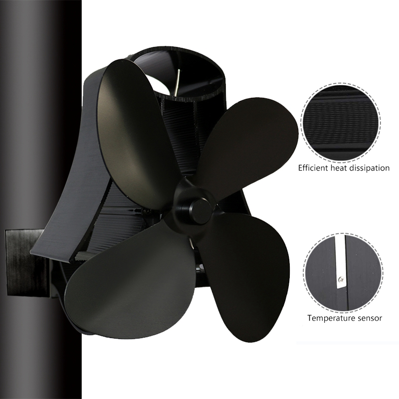 Wall Mounted Type 4 Blade Heat Powered Stove Fan Log Wood Burner Eco Quiet Home Fireplace Fan Fuel Saving Distribution Heat