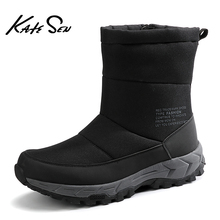 KATESEN 2020 New Fashion Winter Men Boots Comfortable Warm Plush Snow Boots Casual Outdoor High Top Fur Work Shoes Big Size Hot