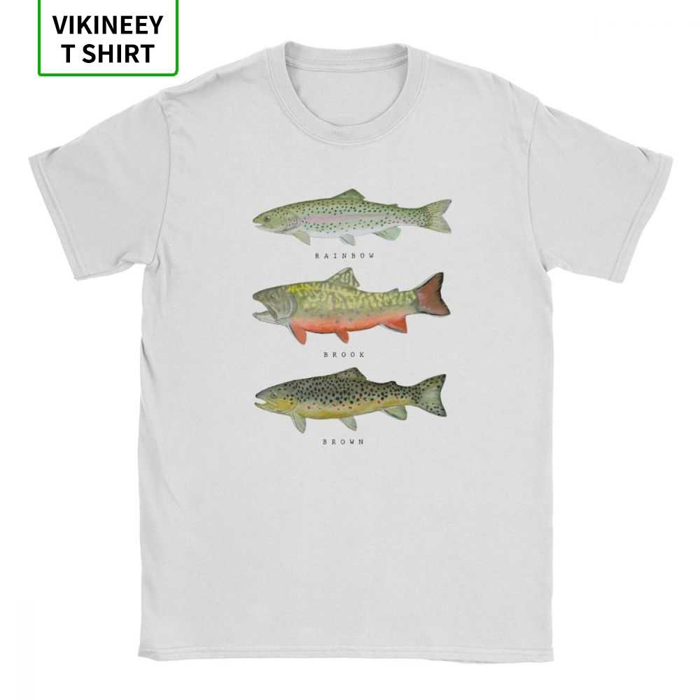 Brown Íris Truta Tríade Camisa Engraçada de T para Homens Peixe Voar Peixes Roupas Clássicas Roupas de Manga Curta T-shirt 100% Algodão O-pescoço T-Shirt