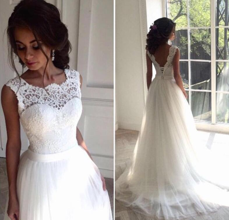 ZJ9098 Beautiful Ivory White Lace With Train 2019 2020 New Beach Wedding Dresses For Bridal Ball Gown Size 2-26W