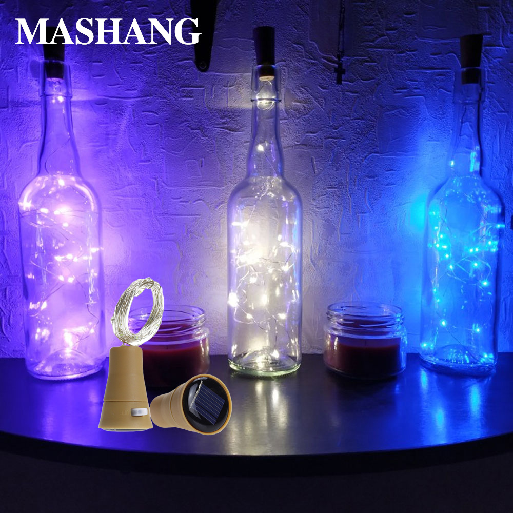 Solar LED Light String Wine Bottle Light Cork Light LED Copper Line Fairy Light 1M 1.5M 2M Decorative Light Outdoor
