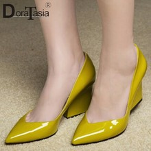 DORATASIA Ladies Office Fashion Patent Pu Pumps Ol Pointed Toe Pumps Women Elegant Shallow High Block Heels Shoes Woman(China)