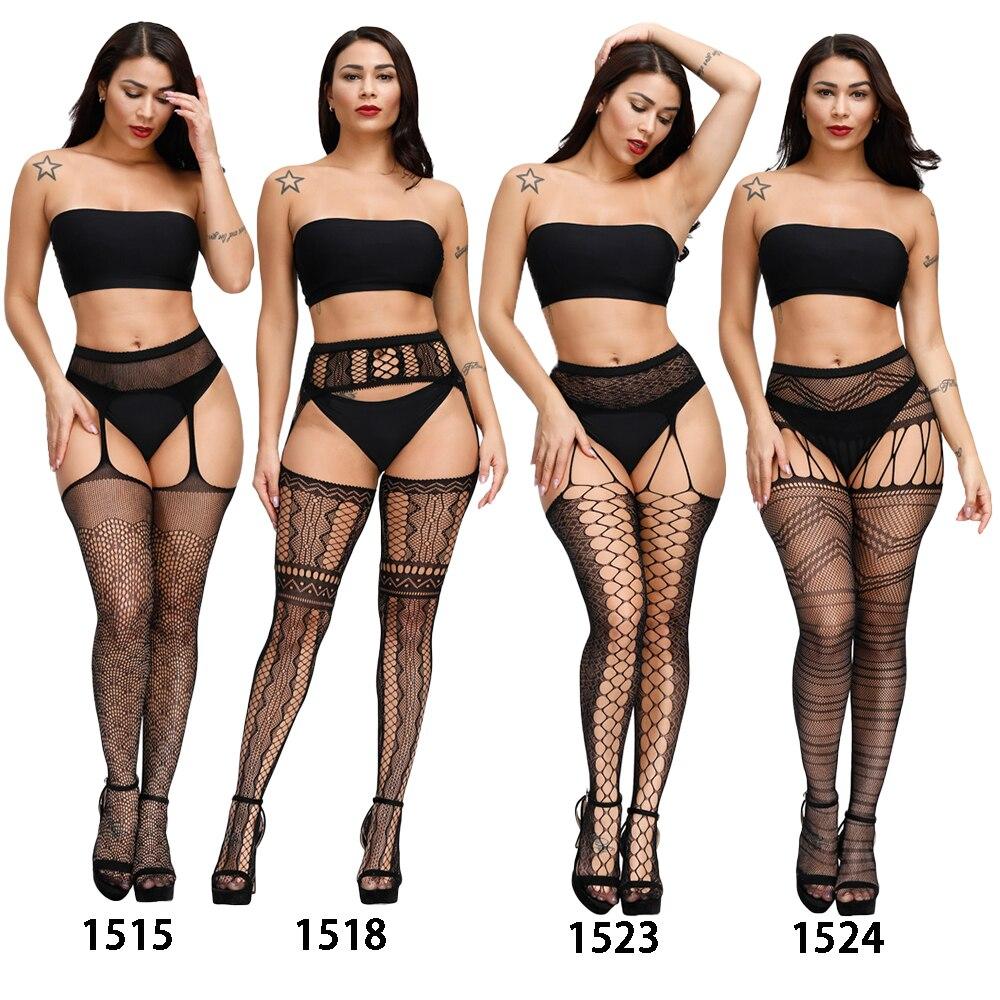 H28e38436d6734f55816152f606f2982aY Lencería Sexy Porno erótico para mujer, lencería de talla grande, ropa interior, muñecas, medias sin entrepierna, encaje transparente sólido