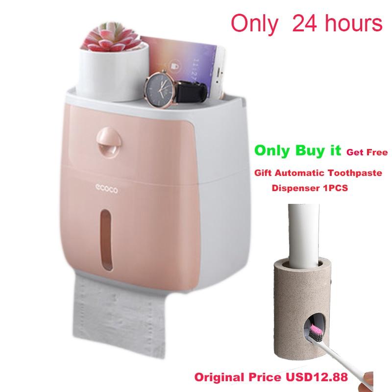 LF82003 Plastic Toilet Paper Holder Bathroom Double Paper Tissue Box Wall Mounted Paper Shelf Storage Box Toilet Dispenser