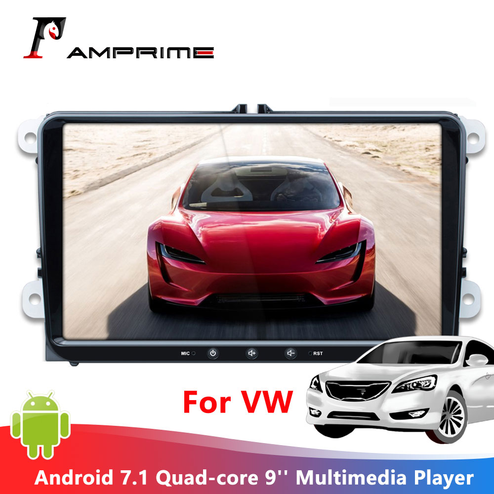 AMPrime Android 7,1 автомобильный мультимедийный плеер 9 ''радио 2 din android Авторадио четырехъядерный gps wifi FM Mirrorlink Для VW радио Coche