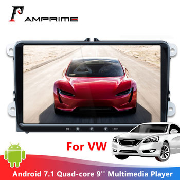 AMPrime Android 7.1 Car Multimedia Player 9'' radio 2 din android Autoradio Quad-core GPS WIFI FM Mirrorlink For VW Radio Coche image