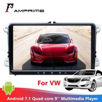 AMPrime-radio Multimedia con GPS para Coche, Radio con reproductor, Android 7,1, 9 pulgadas, 2 din, Quad core, WIFI, FM, Mirrorlink, para Coche VW