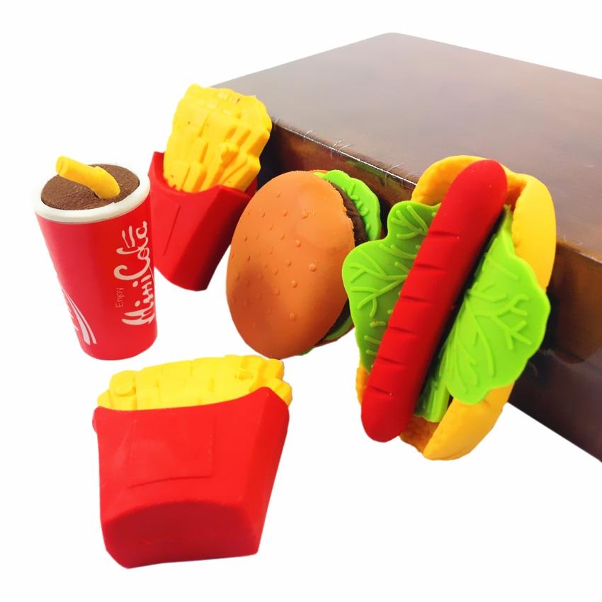 36pcs/lot Kawaii Food Design Cola Hamburg Rubber Eraser Creative  Stationery School Supplies Papelaria Gift For Kids