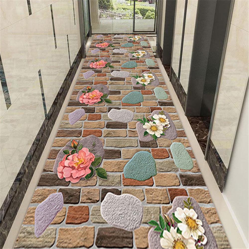 Каменный цветочный ковер для коридора, двери, ковер, украшение для спальни, коврик для кровати, нескользящий ковер для кухни, балкона, гостиной