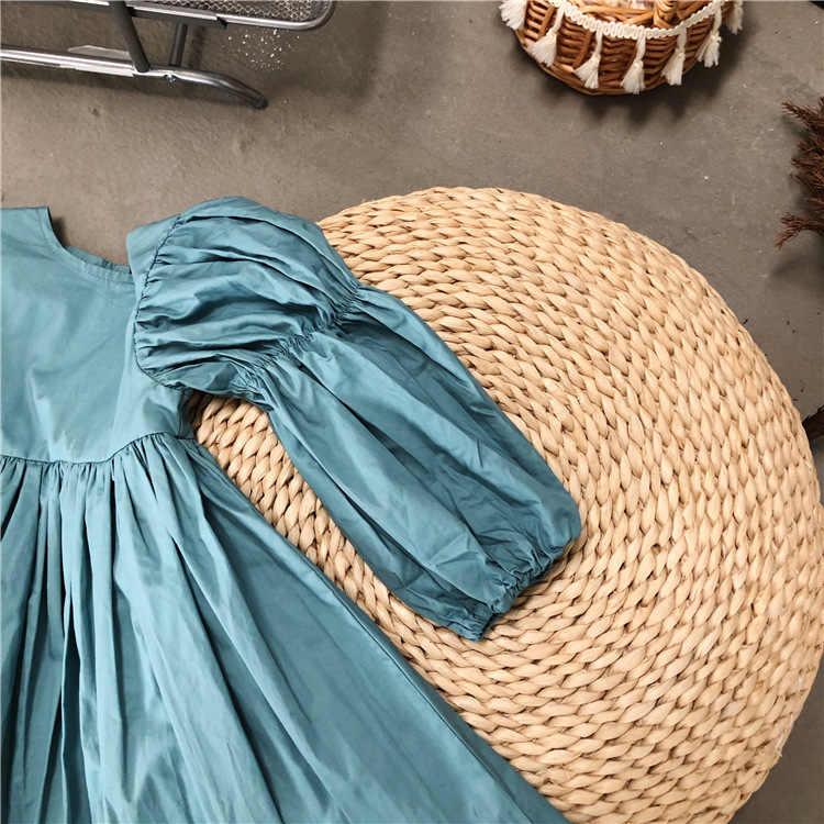 Bé Gái Tay Phồng Váy Trẻ Em Mùa Thu Đầm Công Chúa Thời Trang Trẻ Em Áo Vintage Xếp Ly VÁY ĐẦM DỰ TIỆC Mặc Trang Phục