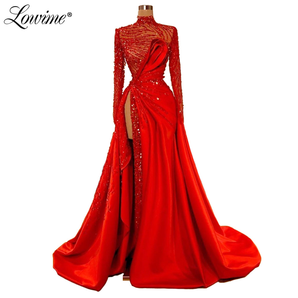 Red Carpet Long Party   Dresses   Celebrity   Evening     Dress   2020 Illusion High Split Side Sexy Prom Gown Full Sleeves Robe De Soiree