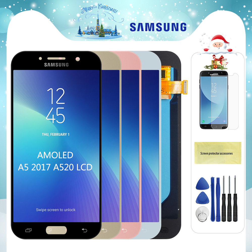Original Super AMOLED <font><b>LCD</b></font> For <font><b>Samsung</b></font> <font><b>Galaxy</b></font> <font><b>A5</b></font> 2017 A520 <font><b>LCD</b></font> A520F SM-A520F <font><b>LCD</b></font> Display Touch <font><b>Screen</b></font> Digitizer Replacment image