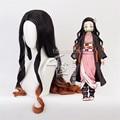 42 дюйма 105 см демон убийца Nezuko камадо Косплэй парики Kimetsu без Yaiba Жаростойкие накладные волосы Косплэй к костюмам + бесплатная парик Кепки