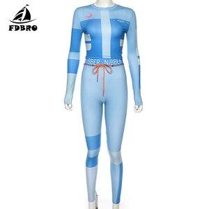 Image 5 - Fdbro conjunto de vestimenta para inverno, kit de roupas fitness femininas, agasalho de cintura alta mulheres