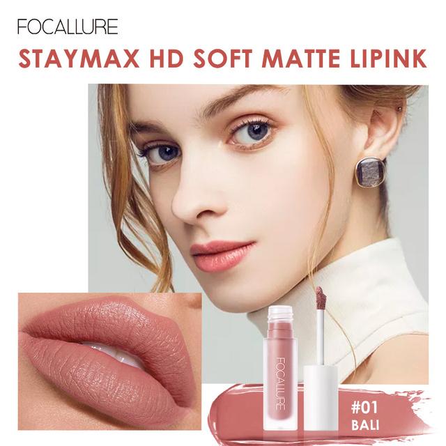 FOCALLURE Staymax Matte Liquid Lipstick Lip Makeup Long Lasting Kissproof Nourish Lip Tint Lightweight formula Liquid Lipstick