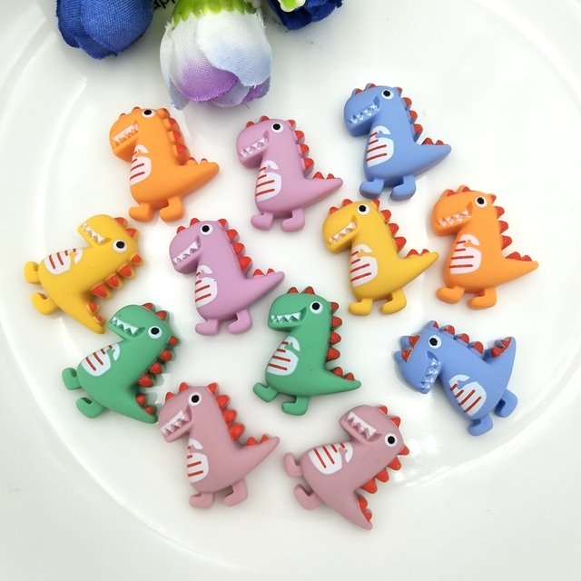 Resin Cute cartoon dinosaur Flat Back Stone Appliques Home Decor Crafts 12pcs DIY Wedding Scrapbook 1