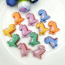 Resina lindo dinosaurio de dibujos animados plano Back Stone Appliques Home Decoration manualidades 12 Uds DIY álbum de recortes de boda(China)