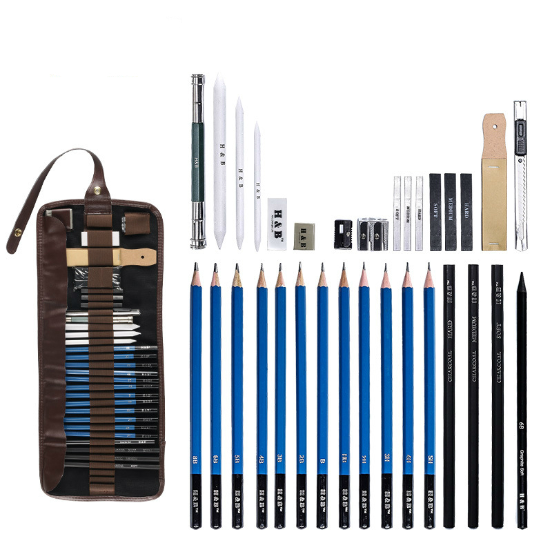 32 Pcs/set Sketch Pencil Set HB-PB32SS Professional Sketching Drawing Kit Pencil Wrap For Painter School Students Art Supplies